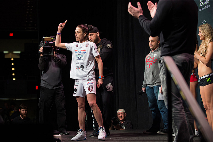 DALLAS, TX - MARCH 13: Joanna Jedrzejczyk walks to the scale during the UFC 185 weigh-ins at the Kay Bailey Hutchison Convention Center on March 13, 2015 in Dallas, Texas. (Photo by Cooper Neill/Zuffa LLC/Zuffa LLC via Getty Images)