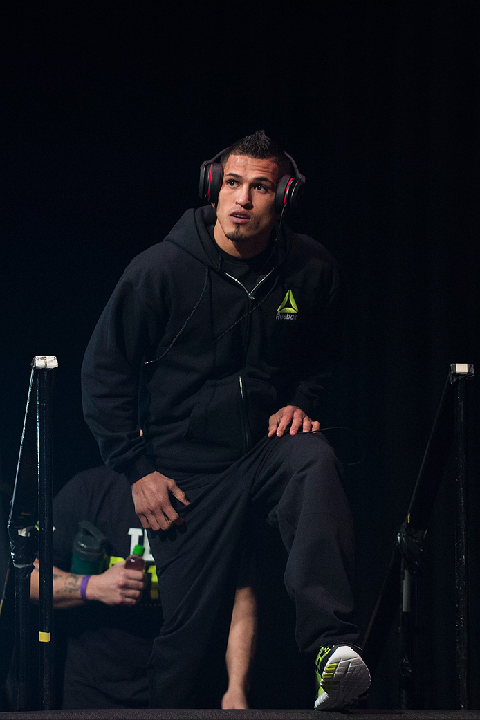 DALLAS, TX - MARCH 13: UFC lightweight champion Anthony Pettis walks to the scale during the UFC 185 weigh-ins at the Kay Bailey Hutchison Convention Center on March 13, 2015 in Dallas, Texas. (Photo by Cooper Neill/Zuffa LLC/Zuffa LLC via Getty Images)