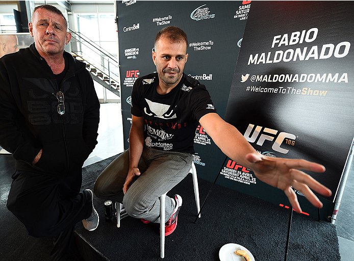 MONTREAL, QC - APRIL 23:  Fabio Maldonado interacts with media during the UFC 186 Ultimate Media Day at Scena on April 23, 2015 in Montreal, Quebec, Canada. (Photo by Jeff Bottari/Zuffa LLC/Zuffa LLC via Getty Images)