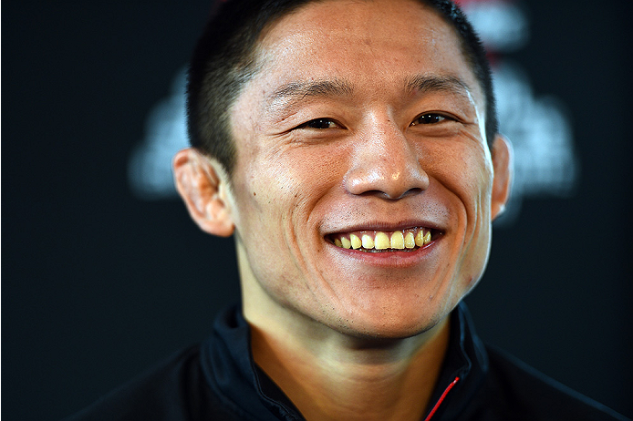 MONTREAL, QC - APRIL 23:  UFC flyweight title challenger Kyoji Horiguchi interacts with media during the UFC 186 Ultimate Media Day at Scena on April 23, 2015 in Montreal, Quebec, Canada. (Photo by Jeff Bottari/Zuffa LLC/Zuffa LLC via Getty Images)