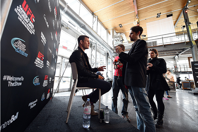 MONTREAL, QC - APRIL 23:  Michael Bisping interacts with media during the UFC 186 Ultimate Media Day at Scena on April 23, 2015 in Montreal, Quebec, Canada. (Photo by Jeff Bottari/Zuffa LLC/Zuffa LLC via Getty Images)