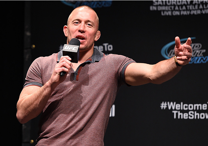 MONTREAL, QC - APRIL 24:   Former UFC welterweight champion Georges St-Pierre interacts with fans during a Q&A session before the UFC 186 weigh-in at Metropolis on April 24, 2015 in Montreal, Quebec, Canada. (Photo by Josh Hedges/Zuffa LLC/Zuffa LLC via G