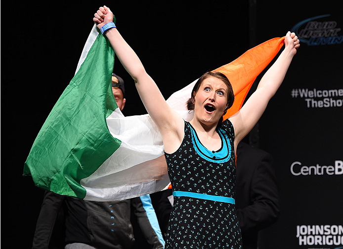 MONTREAL, QC - APRIL 24:   Aisling Daly of Ireland prepares to weigh in during the UFC 186 weigh-in at Metropolis on April 24, 2015 in Montreal, Quebec, Canada. (Photo by Josh Hedges/Zuffa LLC/Zuffa LLC via Getty Images)