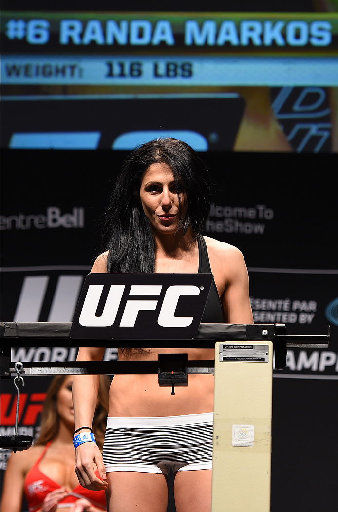 MONTREAL, QC - APRIL 24:   Randa Markos of Canada weighs in during the UFC 186 weigh-in at Metropolis on April 24, 2015 in Montreal, Quebec, Canada. (Photo by Josh Hedges/Zuffa LLC/Zuffa LLC via Getty Images)
