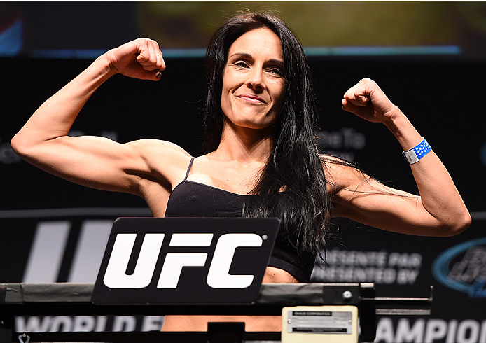MONTREAL, QC - APRIL 24:   Valerie Letourneau of Canada weighs in during the UFC 186 weigh-in at Metropolis on April 24, 2015 in Montreal, Quebec, Canada. (Photo by Josh Hedges/Zuffa LLC/Zuffa LLC via Getty Images)