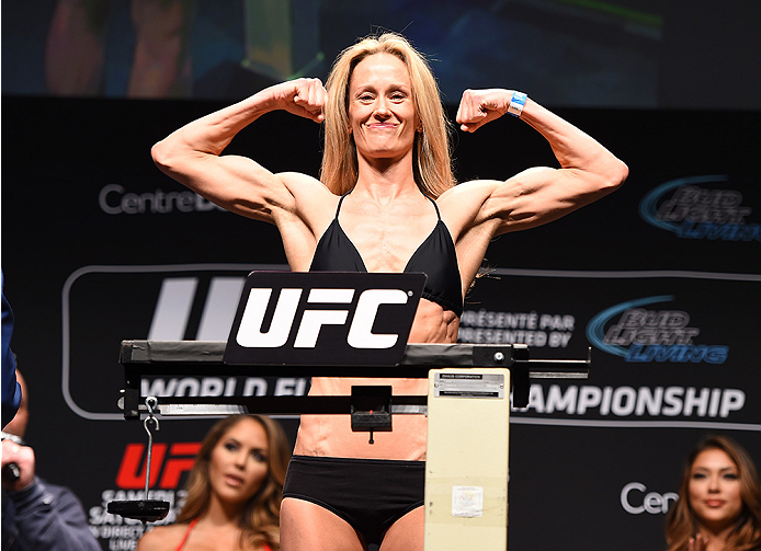 MONTREAL, QC - APRIL 24:   Jessica Rakoczy of the United States weighs in during the UFC 186 weigh-in at Metropolis on April 24, 2015 in Montreal, Quebec, Canada. (Photo by Josh Hedges/Zuffa LLC/Zuffa LLC via Getty Images)