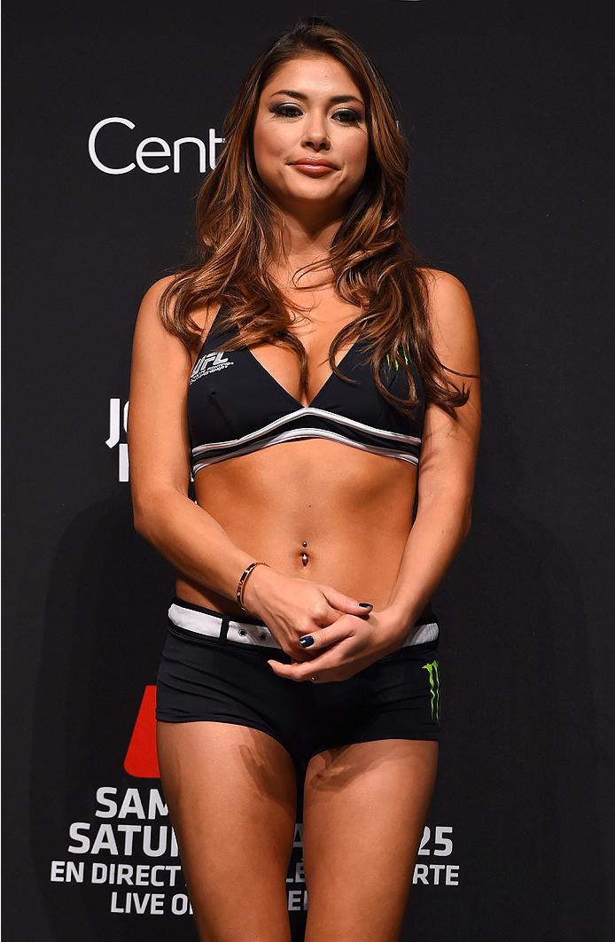 MONTREAL, QC - APRIL 24:   UFC Octagon Girl Arianny Celeste stands on stage during the UFC 186 weigh-in at Metropolis on April 24, 2015 in Montreal, Quebec, Canada. (Photo by Josh Hedges/Zuffa LLC/Zuffa LLC via Getty Images)