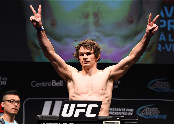 MONTREAL, QC - APRIL 24:   Olivier Aubin-Mercier of Canada weighs in during the UFC 186 weigh-in at Metropolis on April 24, 2015 in Montreal, Quebec, Canada. (Photo by Josh Hedges/Zuffa LLC/Zuffa LLC via Getty Images)