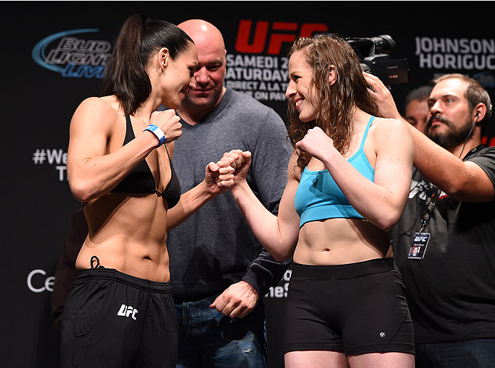 MONTREAL, QC - APRIL 24:   (L-R) Opponents Alexis Davis of Canada and Sarah Kaufman of Canada face off during the UFC 186 weigh-in at Metropolis on April 24, 2015 in Montreal, Quebec, Canada. (Photo by Josh Hedges/Zuffa LLC/Zuffa LLC via Getty Images)