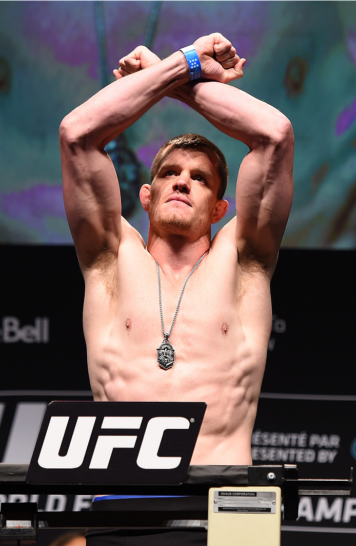 MONTREAL, QC - APRIL 24:   CB Dolloway of the United States weighs in during the UFC 186 weigh-in at Metropolis on April 24, 2015 in Montreal, Quebec, Canada. (Photo by Josh Hedges/Zuffa LLC/Zuffa LLC via Getty Images)