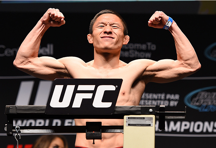 MONTREAL, QC - APRIL 24:   Kyoji Horiguchi of Japan weighs in during the UFC 186 weigh-in at Metropolis on April 24, 2015 in Montreal, Quebec, Canada. (Photo by Josh Hedges/Zuffa LLC/Zuffa LLC via Getty Images)