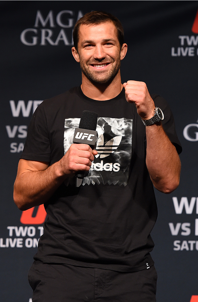 LAS VEGAS, NV - MAY 22:   UFC middleweight contender Luke Rockhold interacts with fans during a Q&A session before the UFC 187 weigh-in at the MGM Grand Conference Center on May 2, 2015 in Las Vegas, Nevada. (Photo by Josh Hedges/Zuffa LLC/Zuffa LLC via G