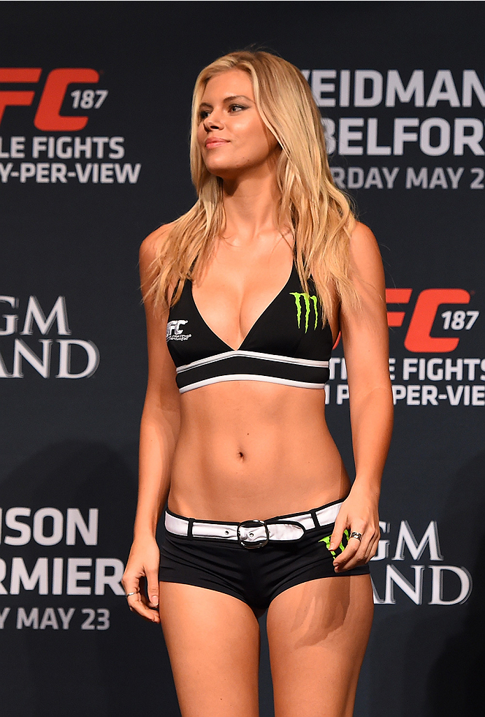 LAS VEGAS, NV - MAY 22:   UFC Octagon Girl Chrissy Blair stands on stage during the UFC 187 weigh-in at the MGM Grand Conference Center on May 22, 2015 in Las Vegas, Nevada. (Photo by Josh Hedges/Zuffa LLC/Zuffa LLC via Getty Images)