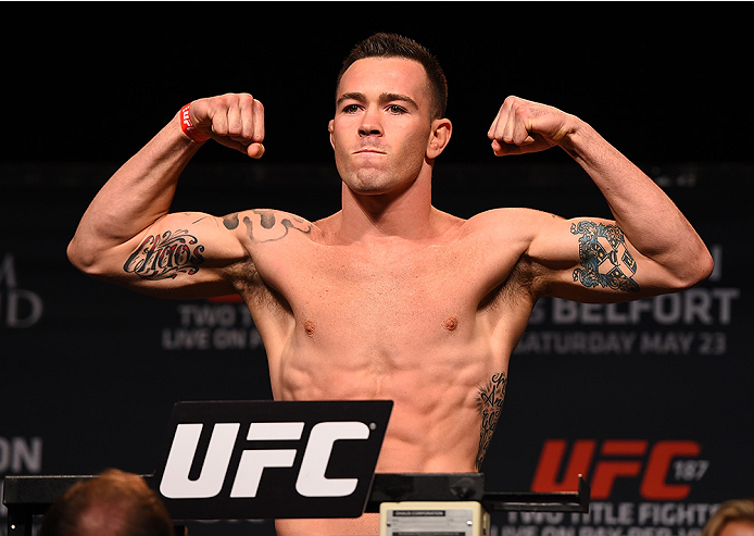 LAS VEGAS, NV - MAY 22:   Colby Covington weighs in during the UFC 187 weigh-in at the MGM Grand Conference Center on May 22, 2015 in Las Vegas, Nevada. (Photo by Josh Hedges/Zuffa LLC/Zuffa LLC via Getty Images)