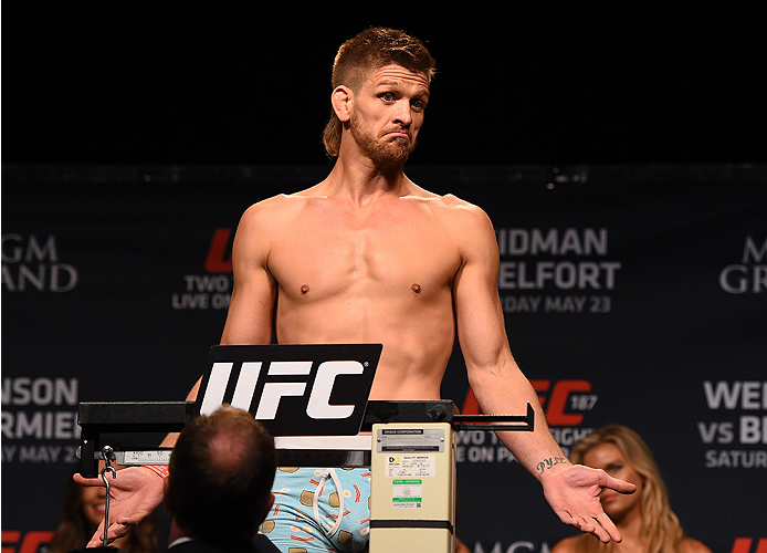 LAS VEGAS, NV - MAY 22:   Mike Pyle weighs in during the UFC 187 weigh-in at the MGM Grand Conference Center on May 22, 2015 in Las Vegas, Nevada. (Photo by Josh Hedges/Zuffa LLC/Zuffa LLC via Getty Images)