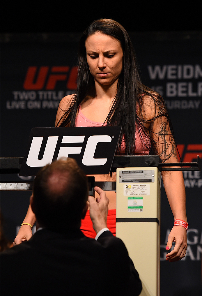 LAS VEGAS, NV - MAY 22:   Nina Ansaroff weighs in during the UFC 187 weigh-in at the MGM Grand Conference Center on May 22, 2015 in Las Vegas, Nevada. (Photo by Josh Hedges/Zuffa LLC/Zuffa LLC via Getty Images)