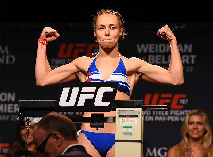 LAS VEGAS, NV - MAY 22:   Rose Namajunas weighs in during the UFC 187 weigh-in at the MGM Grand Conference Center on May 22, 2015 in Las Vegas, Nevada. (Photo by Josh Hedges/Zuffa LLC/Zuffa LLC via Getty Images)