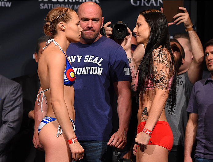LAS VEGAS, NV - MAY 22:   (L-R) Opponents Rose Namajunas and Nina Ansaroff face off during the UFC 187 weigh-in at the MGM Grand Conference Center on May 22, 2015 in Las Vegas, Nevada. (Photo by Josh Hedges/Zuffa LLC/Zuffa LLC via Getty Images)