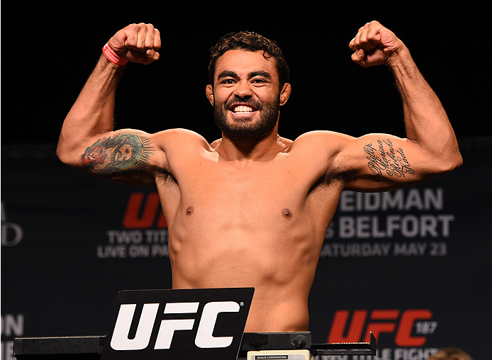 LAS VEGAS, NV - MAY 22:   Rafael Natal of Brazil weighs in during the UFC 187 weigh-in at the MGM Grand Conference Center on May 22, 2015 in Las Vegas, Nevada. (Photo by Josh Hedges/Zuffa LLC/Zuffa LLC via Getty Images)