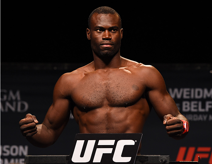 LAS VEGAS, NV - MAY 22:   Uriah Hall of Jamaica weighs in during the UFC 187 weigh-in at the MGM Grand Conference Center on May 22, 2015 in Las Vegas, Nevada. (Photo by Josh Hedges/Zuffa LLC/Zuffa LLC via Getty Images)