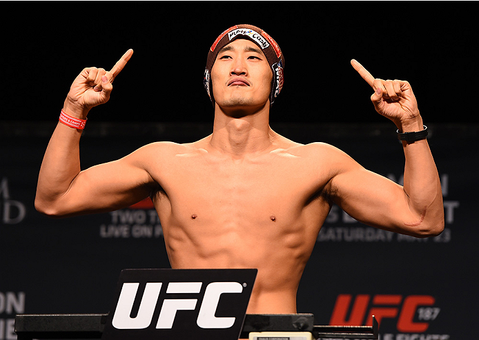 LAS VEGAS, NV - MAY 22:   Dong Hyun Kim of South Korea weighs in during the UFC 187 weigh-in at the MGM Grand Conference Center on May 22, 2015 in Las Vegas, Nevada. (Photo by Josh Hedges/Zuffa LLC/Zuffa LLC via Getty Images)