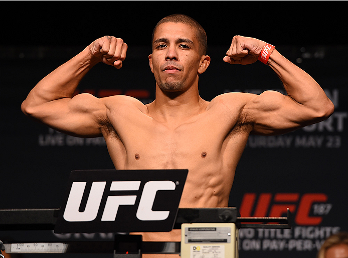 LAS VEGAS, NV - MAY 22:   John Moraga weighs in during the UFC 187 weigh-in at the MGM Grand Conference Center on May 2, 2015 in Las Vegas, Nevada. (Photo by Josh Hedges/Zuffa LLC/Zuffa LLC via Getty Images)