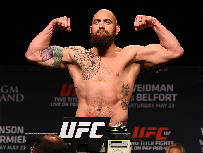 LAS VEGAS, NV - MAY 22:   Travis Browne weighs in during the UFC 187 weigh-in at the MGM Grand Conference Center on May 2, 2015 in Las Vegas, Nevada. (Photo by Josh Hedges/Zuffa LLC/Zuffa LLC via Getty Images)