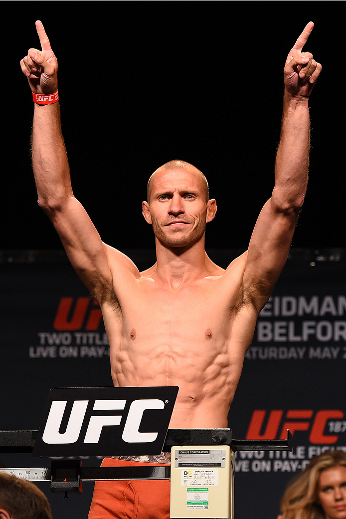 LAS VEGAS, NV - MAY 22:   Donald 'Cowboy' Cerrone weighs in during the UFC 187 weigh-in at the MGM Grand Conference Center on May 2, 2015 in Las Vegas, Nevada. (Photo by Josh Hedges/Zuffa LLC/Zuffa LLC via Getty Images)