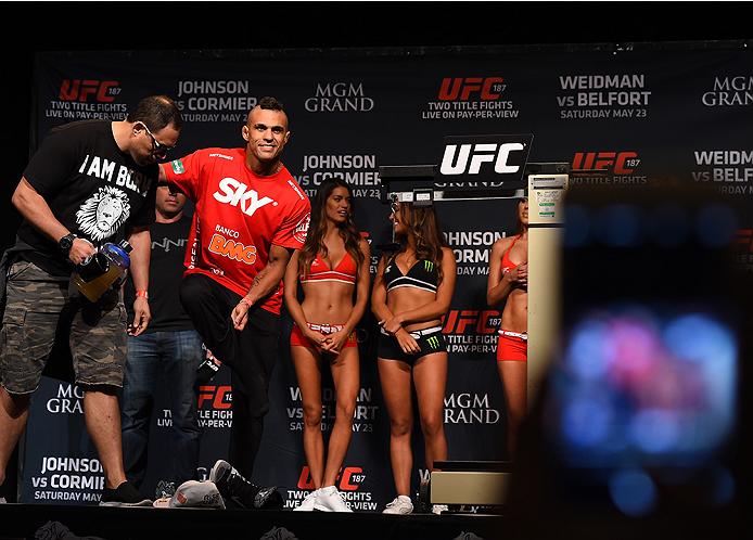 LAS VEGAS, NV - MAY 22:   Vitor Belfort of Brazil prepares to weigh in during the UFC 187 weigh-in at the MGM Grand Conference Center on May 2, 2015 in Las Vegas, Nevada. (Photo by Josh Hedges/Zuffa LLC/Zuffa LLC via Getty Images)