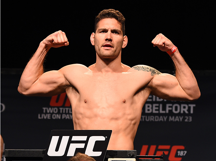 LAS VEGAS, NV - MAY 22:   UFC middleweight champion Chris Weidman weighs in during the UFC 187 weigh-in at the MGM Grand Conference Center on May 2, 2015 in Las Vegas, Nevada. (Photo by Josh Hedges/Zuffa LLC/Zuffa LLC via Getty Images)