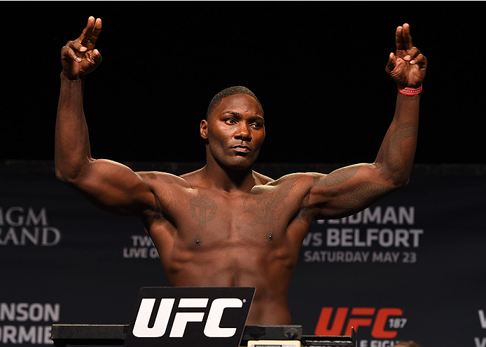 LAS VEGAS, NV - MAY 22:   Anthony 'Rumble' Johnson weighs in during the UFC 187 weigh-in at the MGM Grand Conference Center on May 2, 2015 in Las Vegas, Nevada. (Photo by Josh Hedges/Zuffa LLC/Zuffa LLC via Getty Images)