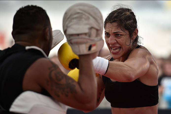 RIO DE JANEIRO, BRAZIL - JULY 29:  Womens bantamweight contender Bethe Correia of Brazil holds an open training session at Pepe Beach on July 29, 2015 in Rio de Janeiro, Brazil.  (Photo by Buda Mendes/Zuffa LLC/Zuffa LLC via Getty Images)