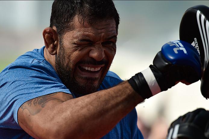 RIO DE JANEIRO, BRAZIL - JULY 29:  Heavyweight contender Antonio Rodrigo 'Minotauro' Nogueira of Brazil holds an open training session at Pepe Beach on July 29, 2015 in Rio de Janeiro, Brazil.  (Photo by Buda Mendes/Zuffa LLC/Zuffa LLC via Getty Images)