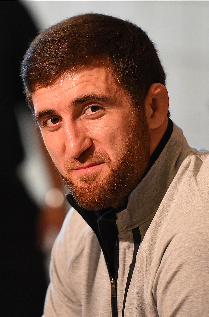 HOUSTON, TX - OCTOBER 01:  Ruslan Magomedov of Russia interacts with media during the UFC 192 Ultimate Media Day at the Toyota Center on October 1, 2015 in Houston, Texas. (Photo by Josh Hedges/Zuffa LLC/Zuffa LLC via Getty Images)