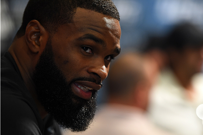 HOUSTON, TX - OCTOBER 01:  Tyron Woodley interacts with media during the UFC 192 Ultimate Media Day at the Toyota Center on October 1, 2015 in Houston, Texas. (Photo by Josh Hedges/Zuffa LLC/Zuffa LLC via Getty Images)