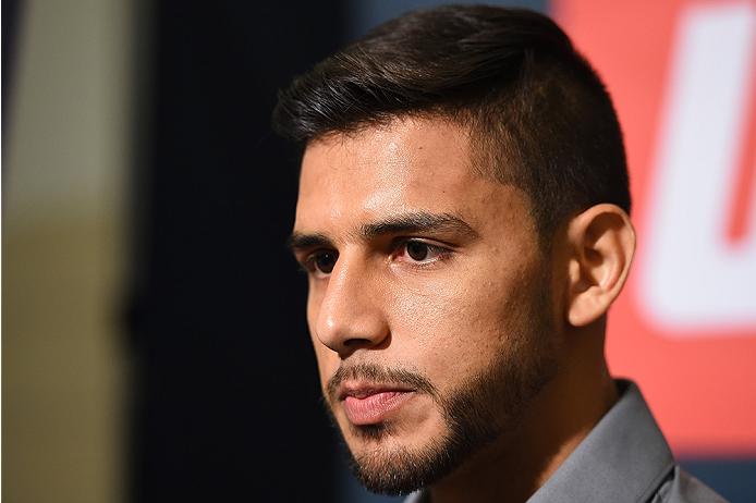 HOUSTON, TX - OCTOBER 01:  Yair Rodriguez of Mexico interacts with media during the UFC 192 Ultimate Media Day at the Toyota Center on October 1, 2015 in Houston, Texas. (Photo by Josh Hedges/Zuffa LLC/Zuffa LLC via Getty Images)