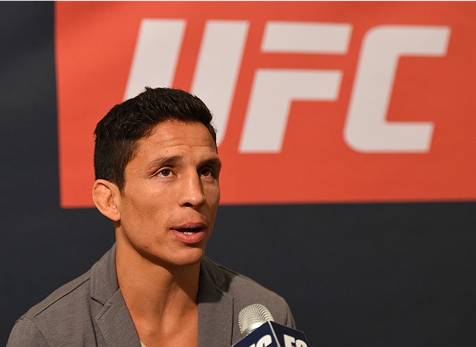 HOUSTON, TX - OCTOBER 01:  Joseph Benavidez interacts with media during the UFC 192 Ultimate Media Day at the Toyota Center on October 1, 2015 in Houston, Texas. (Photo by Josh Hedges/Zuffa LLC/Zuffa LLC via Getty Images)