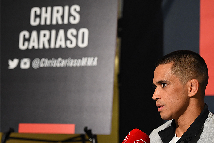 HOUSTON, TX - OCTOBER 01:  Chris Cariaso interacts with media during the UFC 192 Ultimate Media Day at the Toyota Center on October 1, 2015 in Houston, Texas. (Photo by Josh Hedges/Zuffa LLC/Zuffa LLC via Getty Images)