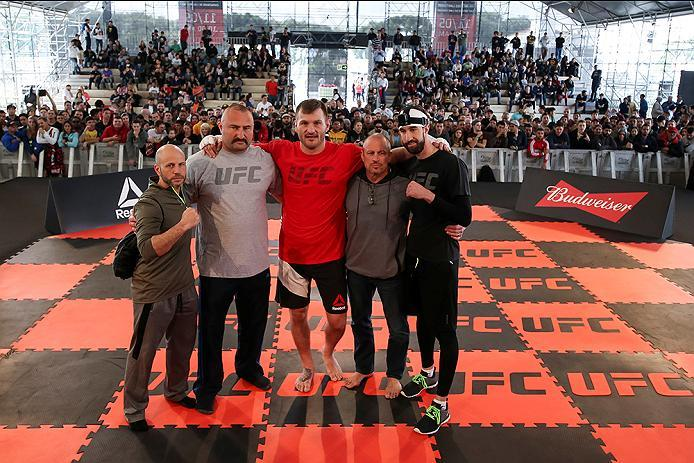 RIO DE JANEIRO, BRAZIL - MAY 11: Heavyweight contender Stipe Miocic (C) of the United States poses for a photo with his teammates after an open training session at Arena da Baixada stadium on May 11, 2016 in Curitiba, Brazil. (Photo by Buda Mendes/Zuffa L