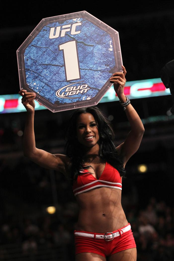 CHICAGO, IL - JANUARY 28:  UFC Octagon Girl Chandella Powell introduces round 1 before the Johnson vs Roller bout during the UFC on FOX event at United Center on January 28, 2012 in Chicago, Illinois.  (Photo by Nick Laham/Zuffa LLC/Zuffa LLC via Getty Im