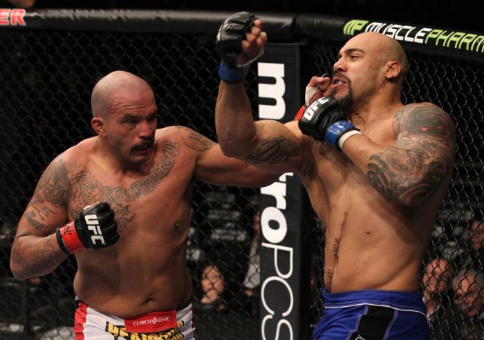 CHICAGO, IL - JANUARY 28:  (L-R) Joey Beltran and Lavar Johnson trade punches during the UFC on FOX event at United Center on January 28, 2012 in Chicago, Illinois.  (Photo by Nick Laham/Zuffa LLC/Zuffa LLC via Getty Images) *** Local Caption *** Lavar Jo
