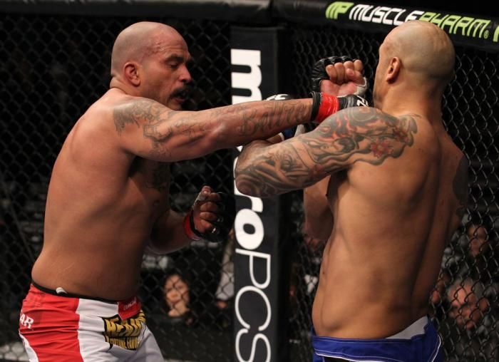 CHICAGO, IL - JANUARY 28:  (L-R) Joey Beltran punches Lavar Johnson during the UFC on FOX event at United Center on January 28, 2012 in Chicago, Illinois.  (Photo by Nick Laham/Zuffa LLC/Zuffa LLC via Getty Images) *** Local Caption *** Lavar Johnson; Joe