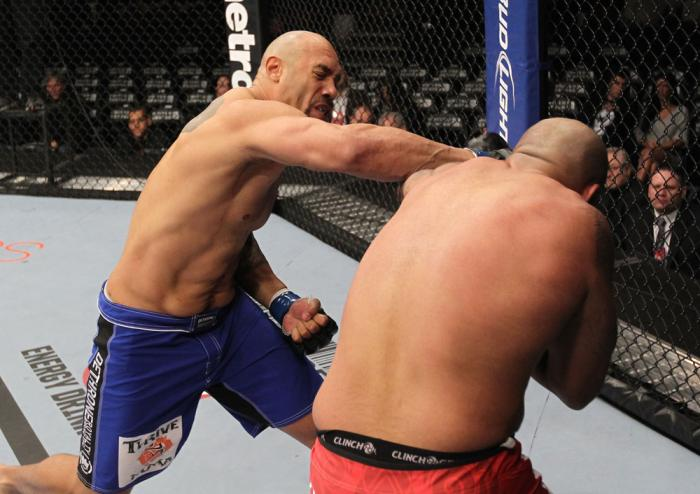 CHICAGO, IL - JANUARY 28:  (L-R) Lavar Johnson punches Joey Beltran during the UFC on FOX event at United Center on January 28, 2012 in Chicago, Illinois.  (Photo by Nick Laham/Zuffa LLC/Zuffa LLC via Getty Images) *** Local Caption *** Lavar Johnson; Joe