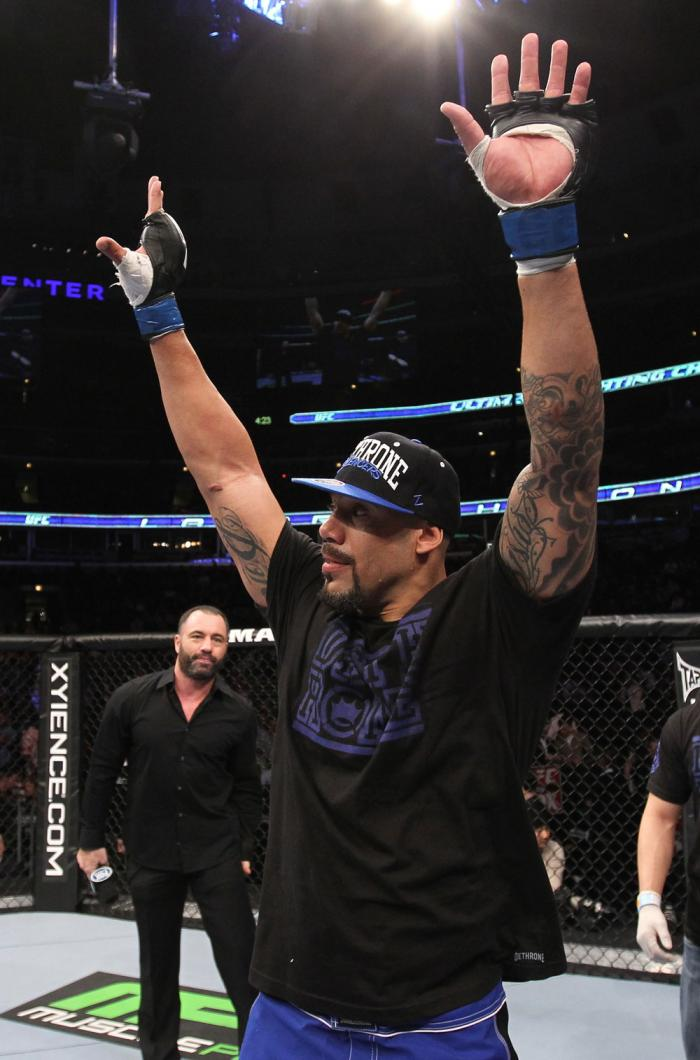 CHICAGO, IL - JANUARY 28:  Lavar Johnson reacts after knocking out Joey Beltran during the UFC on FOX event at United Center on January 28, 2012 in Chicago, Illinois.  (Photo by Nick Laham/Zuffa LLC/Zuffa LLC via Getty Images) *** Local Caption *** Lavar