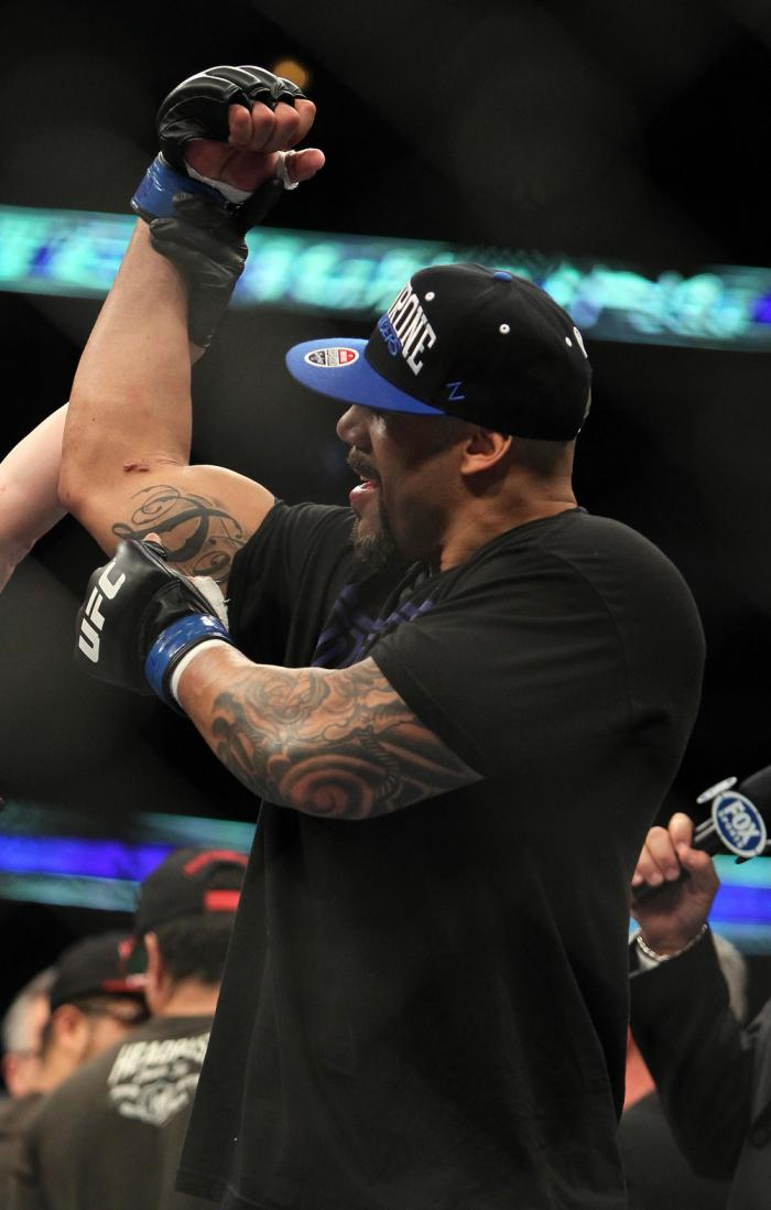 CHICAGO, IL - JANUARY 28:  Lavar Johnson reacts after knocking out Joey Beltran during the UFC on FOX event at United Center on January 28, 2012 in Chicago, Illinois.  (Photo by Josh Hedges/Zuffa LLC/Zuffa LLC via Getty Images) *** Local Caption *** Lavar
