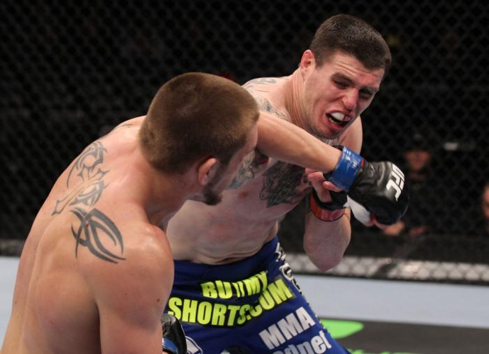 CHICAGO, IL - JANUARY 28:  (L-R) Dustin Jacoby and Chris Camozzi trade punches during the UFC on FOX event at United Center on January 28, 2012 in Chicago, Illinois.  (Photo by Nick Laham/Zuffa LLC/Zuffa LLC via Getty Images) *** Local Caption *** Chris C