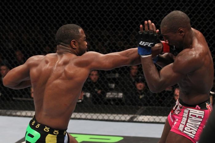 CHICAGO, IL - JANUARY 28:  (L-R) Rashad Evans punches Phil Davis during the UFC on FOX event at United Center on January 28, 2012 in Chicago, Illinois.  (Photo by Nick Laham/Zuffa LLC/Zuffa LLC via Getty Images) *** Local Caption *** Rashad Evans; Phil Da