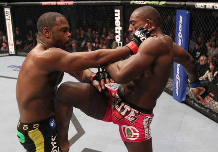 CHICAGO, IL - JANUARY 28:  (R-L) Phil Davis devlivers a knee strike against Rashad Evans during the UFC on FOX event at United Center on January 28, 2012 in Chicago, Illinois.  (Photo by Nick Laham/Zuffa LLC/Zuffa LLC via Getty Images) *** Local Caption *