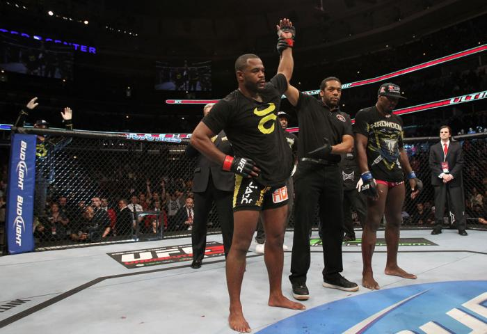 CHICAGO, IL - JANUARY 28:  Rashad Evans reacts after his victory over Phil Davis during the UFC on FOX event at United Center on January 28, 2012 in Chicago, Illinois.  (Photo by Josh Hedges/Zuffa LLC/Zuffa LLC via Getty Images) *** Local Caption *** Rash