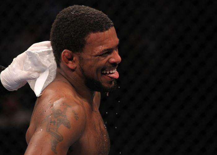 CHICAGO, IL - JANUARY 28:  Michael Johnson reacts after his victory over Shane Roller during the UFC on FOX event at United Center on January 28, 2012 in Chicago, Illinois.  (Photo by Nick Laham/Zuffa LLC/Zuffa LLC via Getty Images) *** Local Caption ***